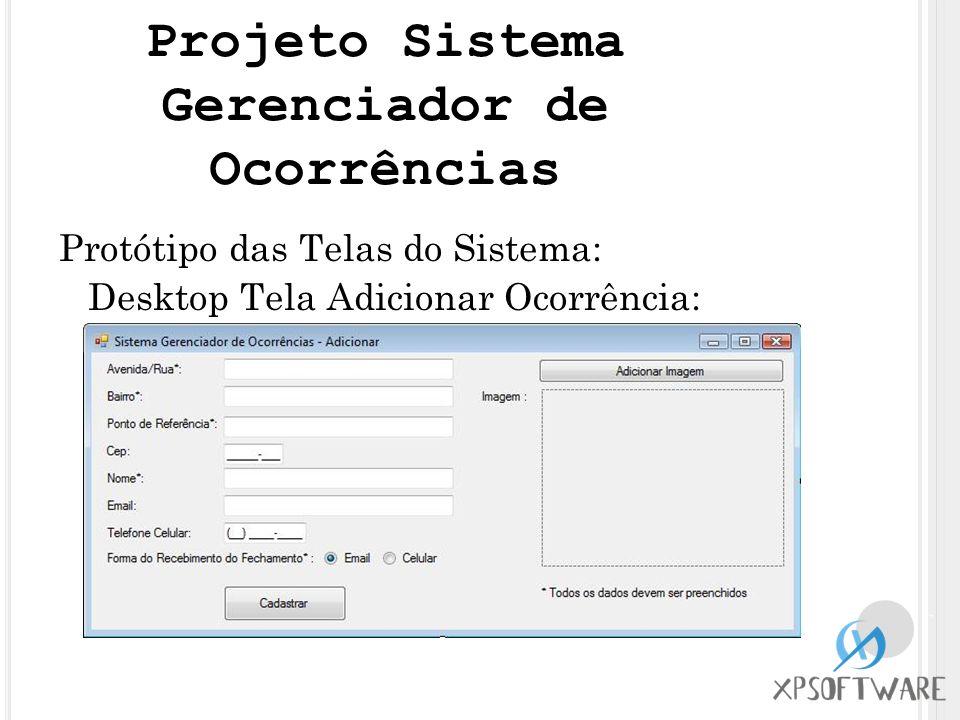 Protótipo das Telas do Sistema: Desktop Tela Adicionar Ocorrência: Projeto Sistema Gerenciador de Ocorrências