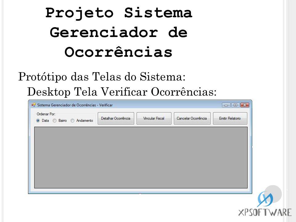 Protótipo das Telas do Sistema: Desktop Tela Verificar Ocorrências: Projeto Sistema Gerenciador de Ocorrências