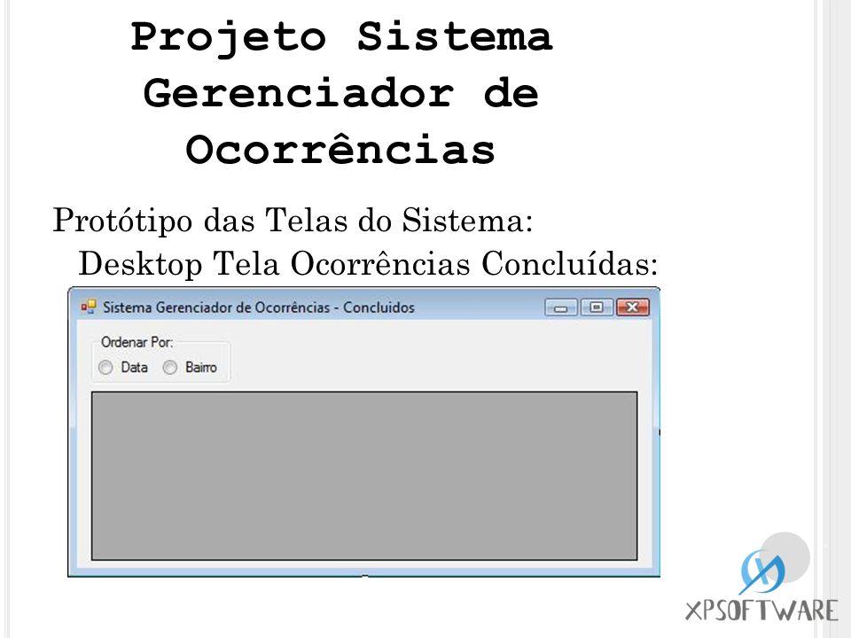 Protótipo das Telas do Sistema: Desktop Tela Ocorrências Concluídas: Projeto Sistema Gerenciador de Ocorrências