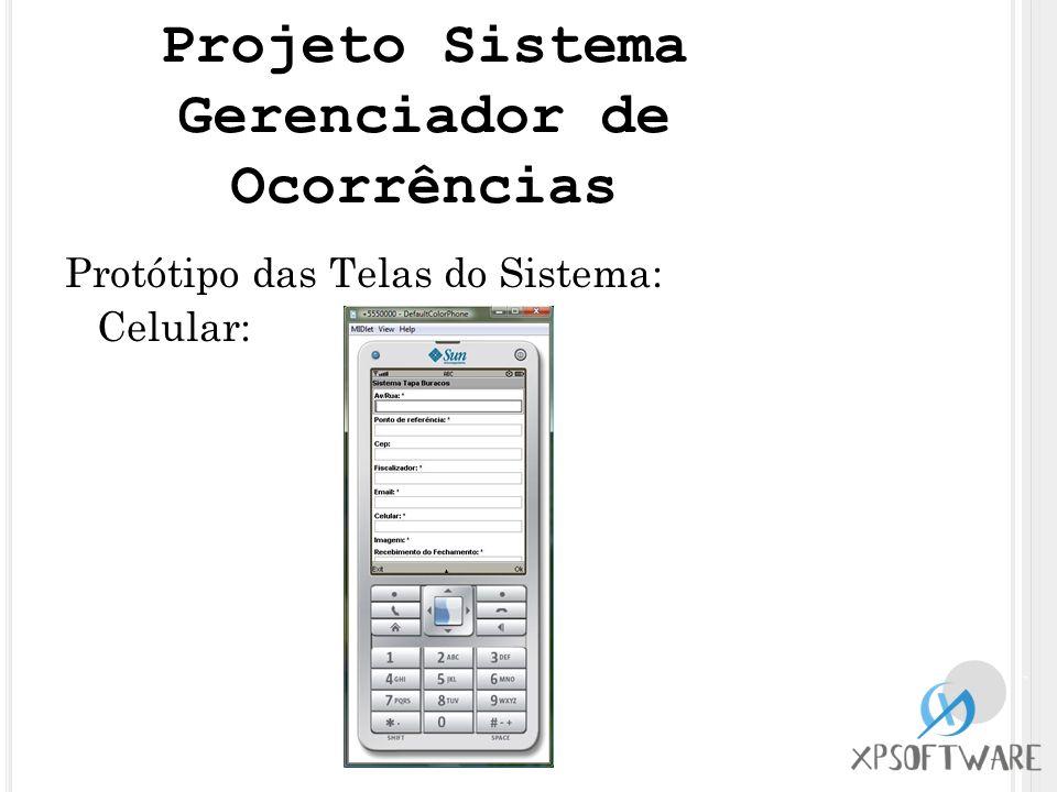Protótipo das Telas do Sistema: Celular: Projeto Sistema Gerenciador de Ocorrências