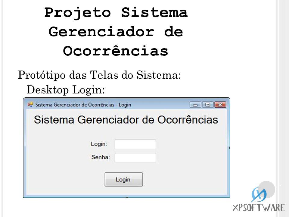 Protótipo das Telas do Sistema: Desktop Login: Projeto Sistema Gerenciador de Ocorrências