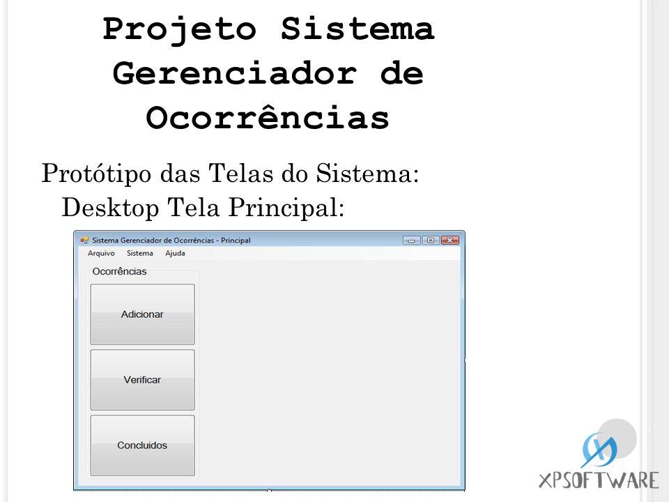 Protótipo das Telas do Sistema: Desktop Tela Principal: Projeto Sistema Gerenciador de Ocorrências