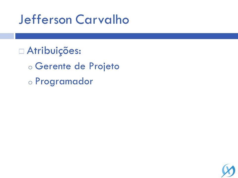Jefferson Carvalho Atribuições: o Gerente de Projeto o Programador