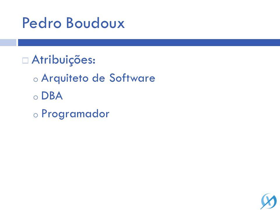 Pedro Boudoux Atribuições: o Arquiteto de Software o DBA o Programador