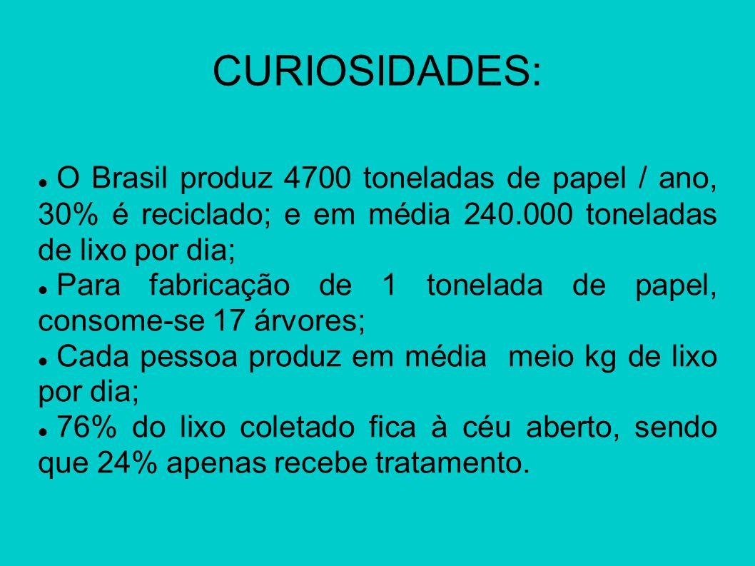 CURIOSIDADES: O Brasil produz 4700 toneladas de papel / ano, 30% é reciclado; e em média 240.000 toneladas de lixo por dia; Para fabricação de 1 tonel
