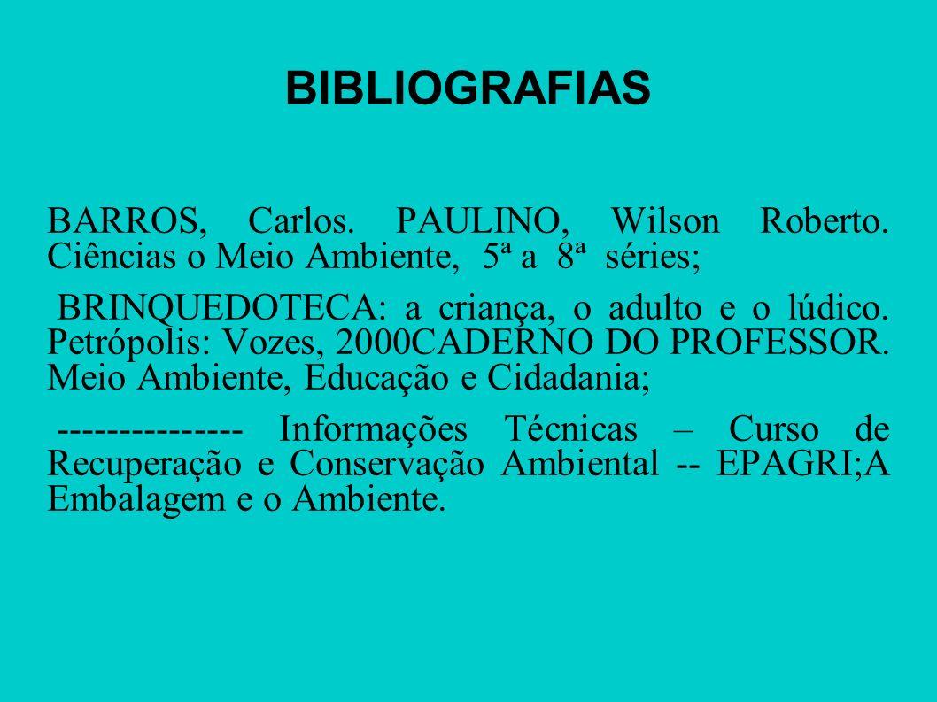 BIBLIOGRAFIAS BARROS, Carlos. PAULINO, Wilson Roberto. Ciências o Meio Ambiente, 5ª a 8ª séries; BRINQUEDOTECA: a criança, o adulto e o lúdico. Petróp