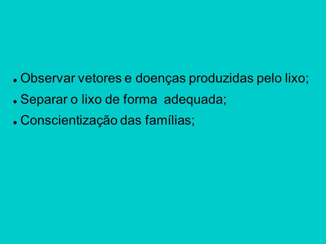 Observar vetores e doenças produzidas pelo lixo; Separar o lixo de forma adequada; Conscientização das famílias;