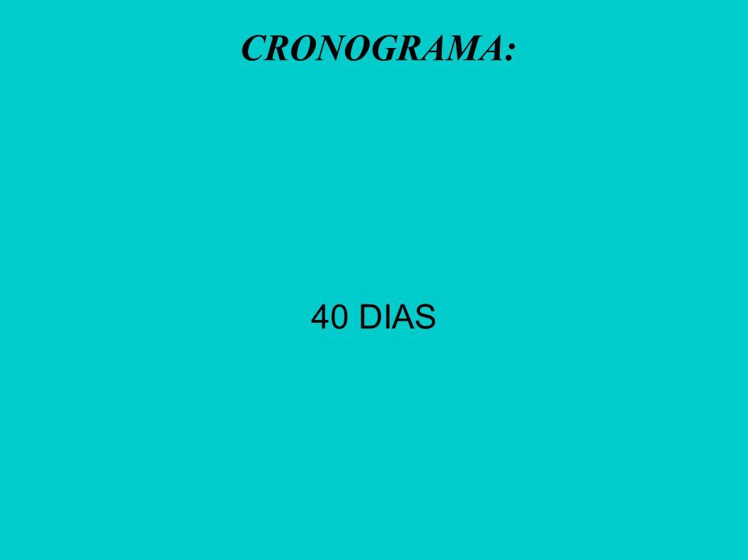 CRONOGRAMA: 40 DIAS