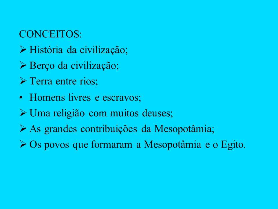 CONCEITOS: História da civilização; Berço da civilização; Terra entre rios; Homens livres e escravos; Uma religião com muitos deuses; As grandes contr