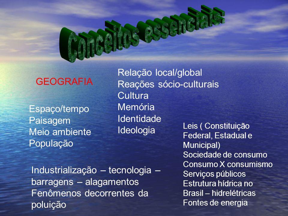 GEOGRAFIA Espaço/tempo Paisagem Meio ambiente População Relação local/global Reações sócio-culturais Cultura Memória Identidade Ideologia Leis ( Const