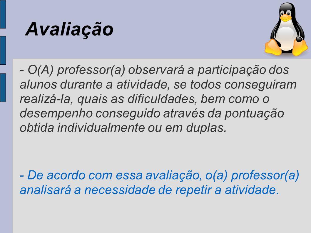 Avaliação - O(A) professor(a) observará a participação dos alunos durante a atividade, se todos conseguiram realizá-la, quais as dificuldades, bem com