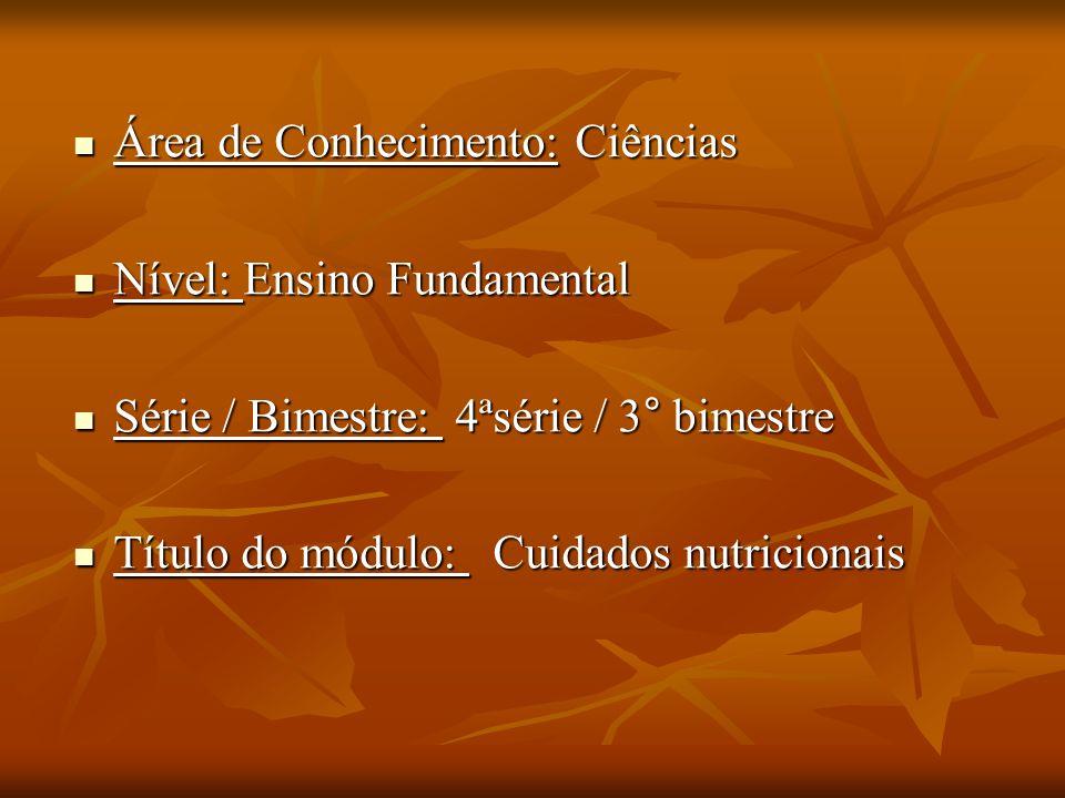 Área de Conhecimento: Ciências Área de Conhecimento: Ciências Nível: Ensino Fundamental Nível: Ensino Fundamental Série / Bimestre: 4ªsérie / 3° bimestre Série / Bimestre: 4ªsérie / 3° bimestre Título do módulo: Cuidados nutricionais Título do módulo: Cuidados nutricionais