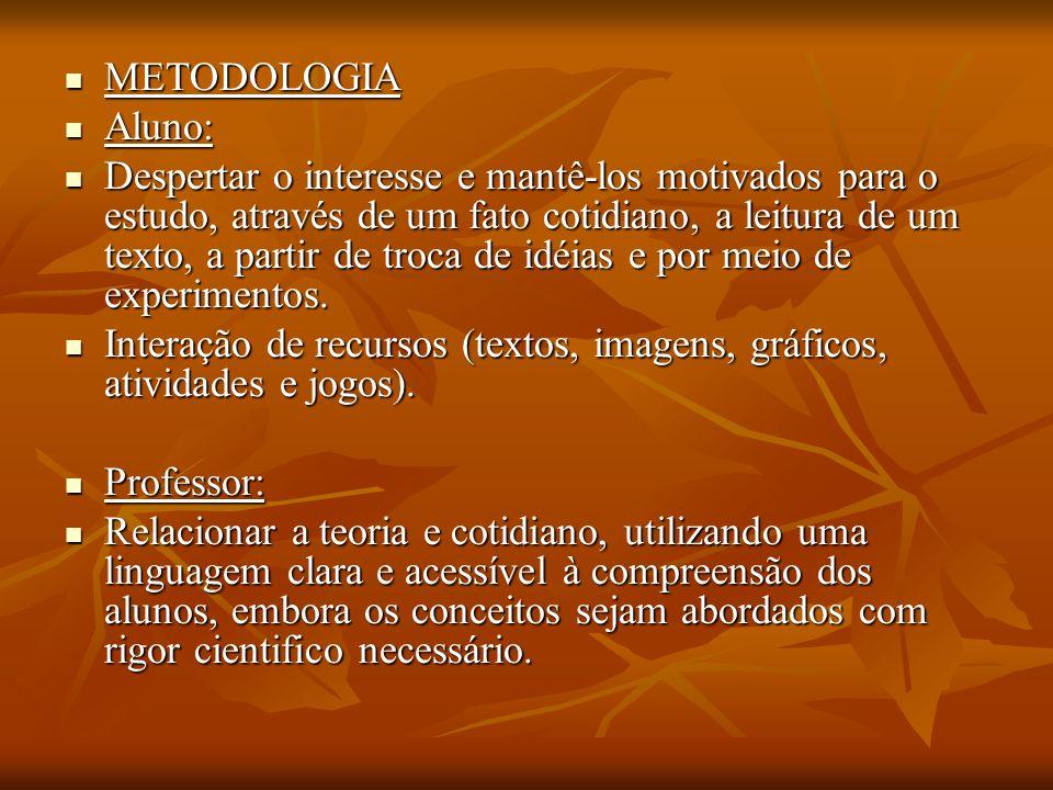 METODOLOGIA METODOLOGIA Aluno: Aluno: Despertar o interesse e mantê-los motivados para o estudo, através de um fato cotidiano, a leitura de um texto, a partir de troca de idéias e por meio de experimentos.