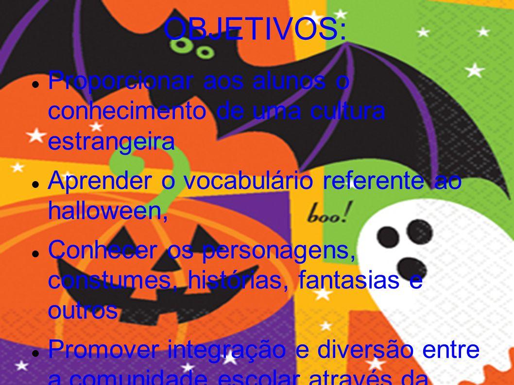 OBJETIVOS: Proporcionar aos alunos o conhecimento de uma cultura estrangeira Aprender o vocabulário referente ao halloween, Conhecer os personagens, c