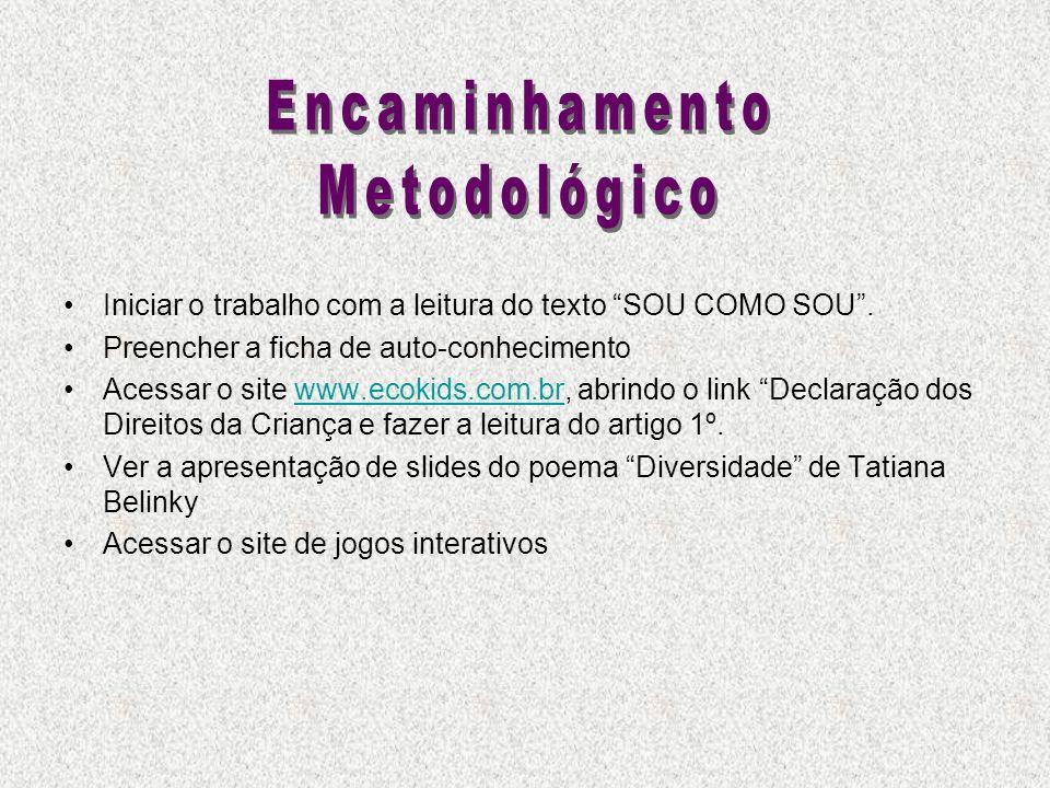 Iniciar o trabalho com a leitura do texto SOU COMO SOU. Preencher a ficha de auto-conhecimento Acessar o site www.ecokids.com.br, abrindo o link Decla