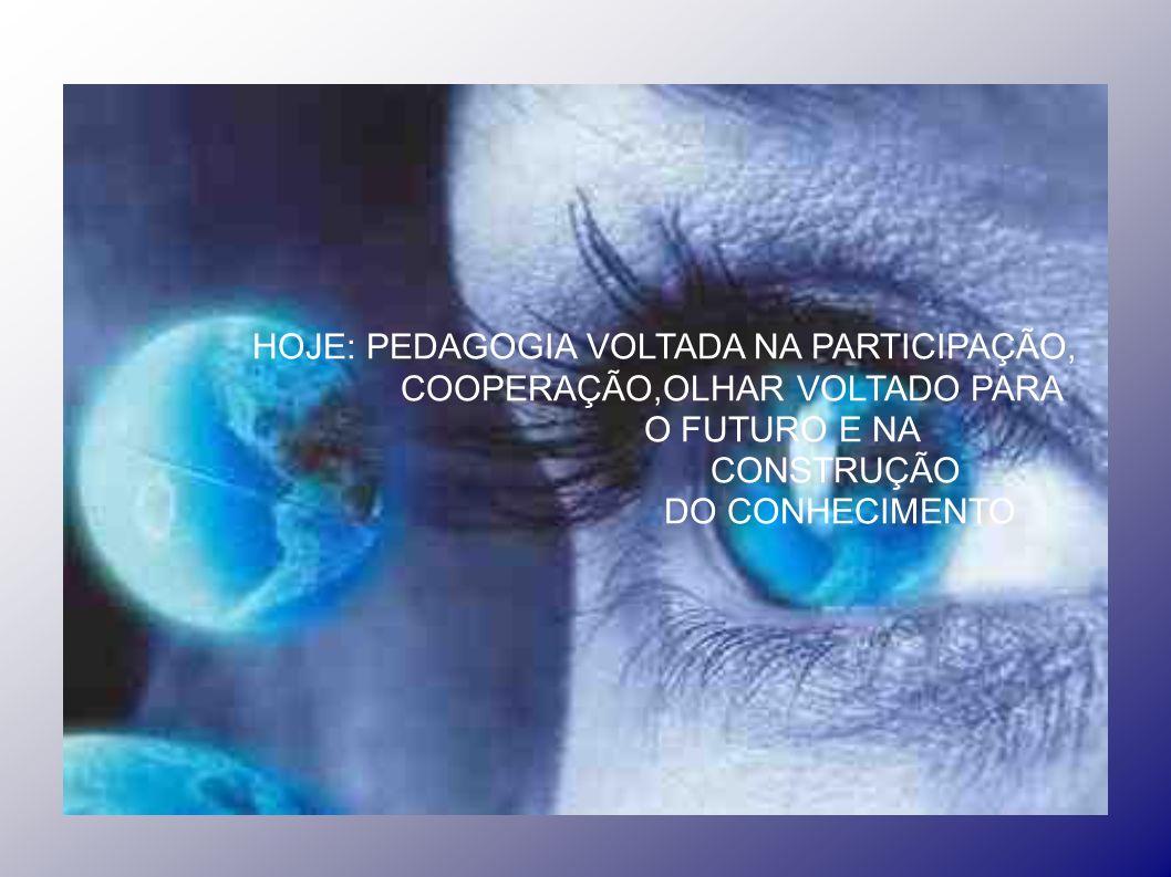 HOJE: PEDAGOGIA VOLTADA NA PARTICIPAÇÃO, COOPERAÇÃO,OLHAR VOLTADO PARA O FUTURO E NA CONSTRUÇÃO DO CONHECIMENTO