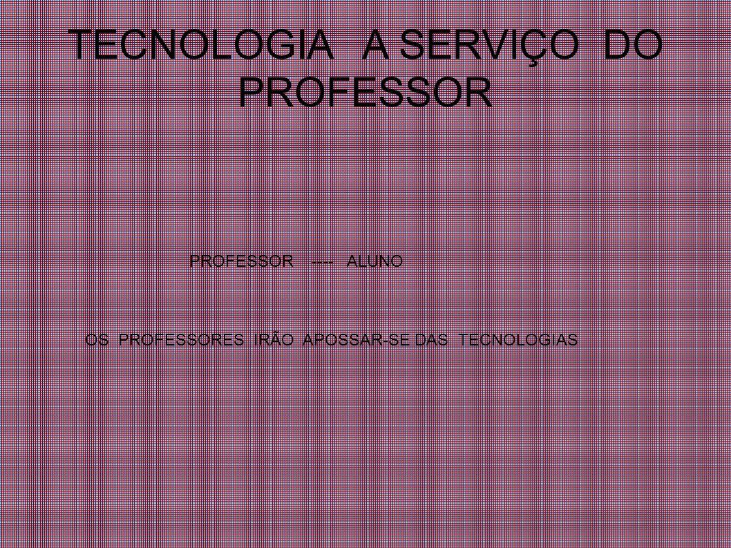 TECNOLOGIA A SERVIÇO DO PROFESSOR PROFESSOR ---- ALUNO OS PROFESSORES IRÃO APOSSAR-SE DAS TECNOLOGIAS