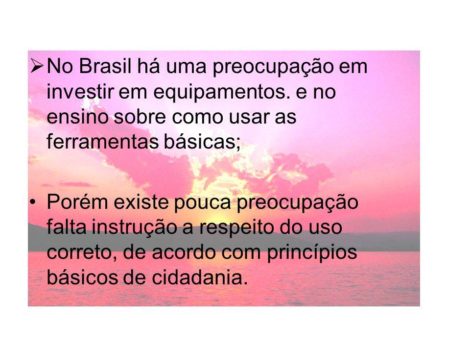 No Brasil há uma preocupação em investir em equipamentos. e no ensino sobre como usar as ferramentas básicas; Porém existe pouca preocupação falta ins