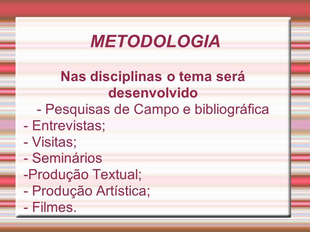 METODOLOGIA Nas disciplinas o tema será desenvolvido - Pesquisas de Campo e bibliográfica - Entrevistas; - Visitas; - Seminários -Produção Textual; -