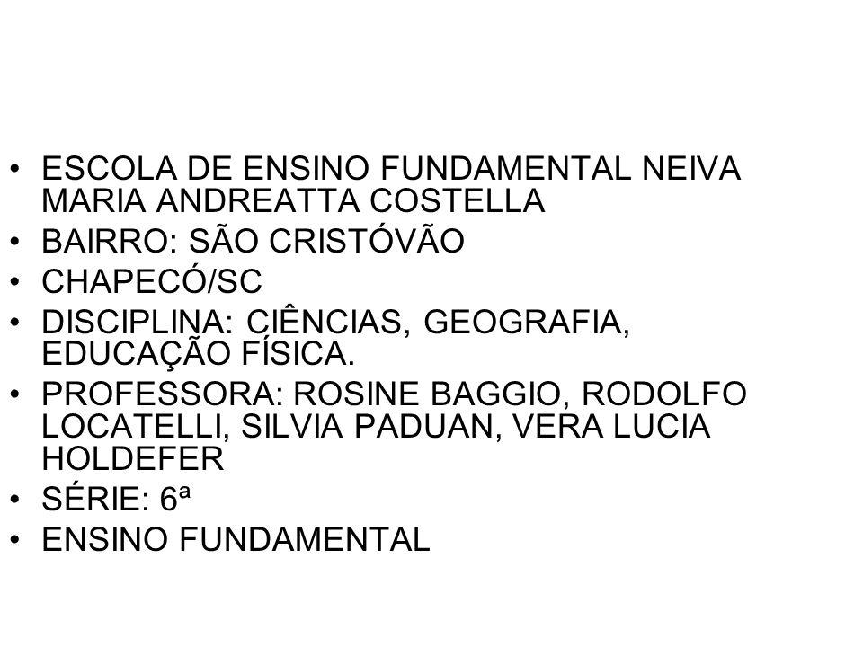 ESCOLA DE ENSINO FUNDAMENTAL NEIVA MARIA ANDREATTA COSTELLA BAIRRO: SÃO CRISTÓVÃO CHAPECÓ/SC DISCIPLINA: CIÊNCIAS, GEOGRAFIA, EDUCAÇÃO FÍSICA. PROFESS