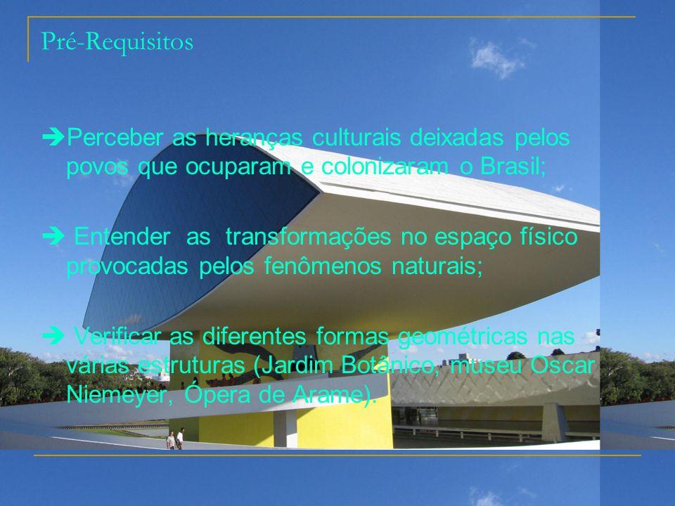 Pré-Requisitos Perceber as heranças culturais deixadas pelos povos que ocuparam e colonizaram o Brasil; Entender as transformações no espaço físico pr