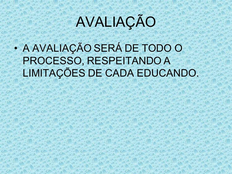 AVALIAÇÃO A AVALIAÇÃO SERÁ DE TODO O PROCESSO, RESPEITANDO A LIMITAÇÕES DE CADA EDUCANDO.