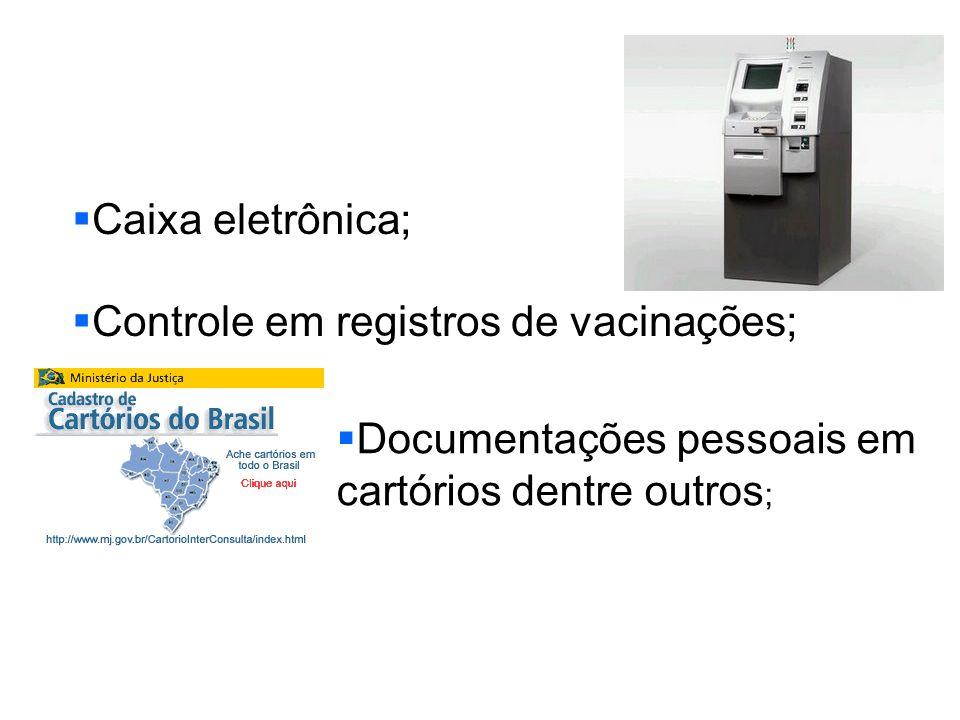 Caixa eletrônica; Controle em registros de vacinações; Documentações pessoais em cartórios dentre outros ;
