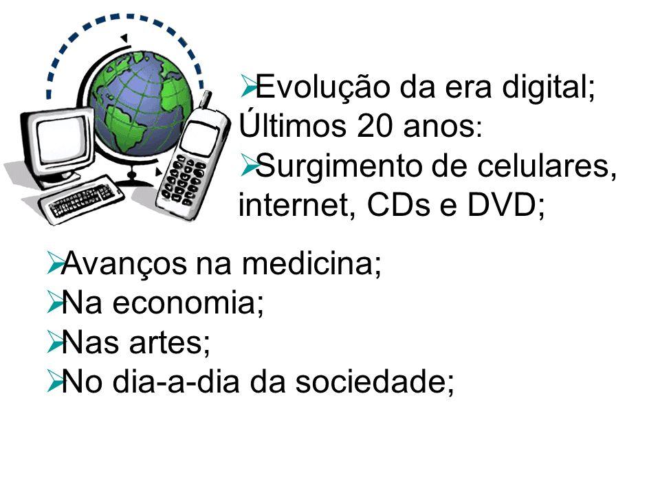 Evolução da era digital; Últimos 20 anos : Surgimento de celulares, internet, CDs e DVD; Avanços na medicina; Na economia; Nas artes; No dia-a-dia da