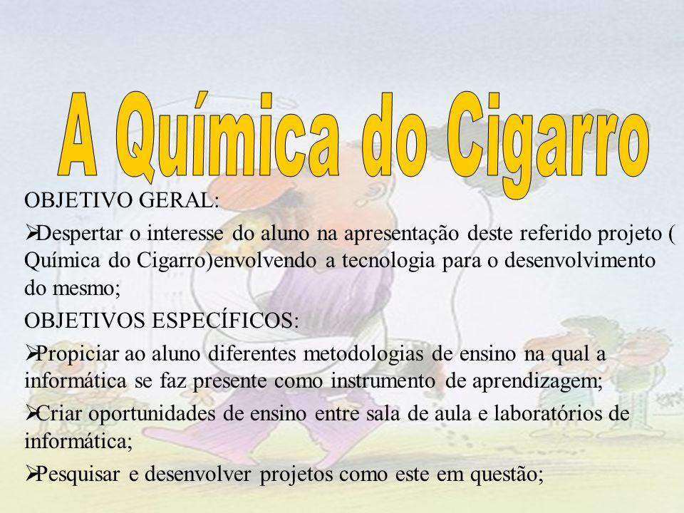 OBJETIVO GERAL: Despertar o interesse do aluno na apresentação deste referido projeto ( Química do Cigarro)envolvendo a tecnologia para o desenvolvime