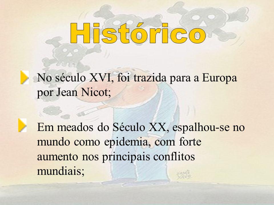 No século XVI, foi trazida para a Europa por Jean Nicot; Em meados do Século XX, espalhou-se no mundo como epidemia, com forte aumento nos principais