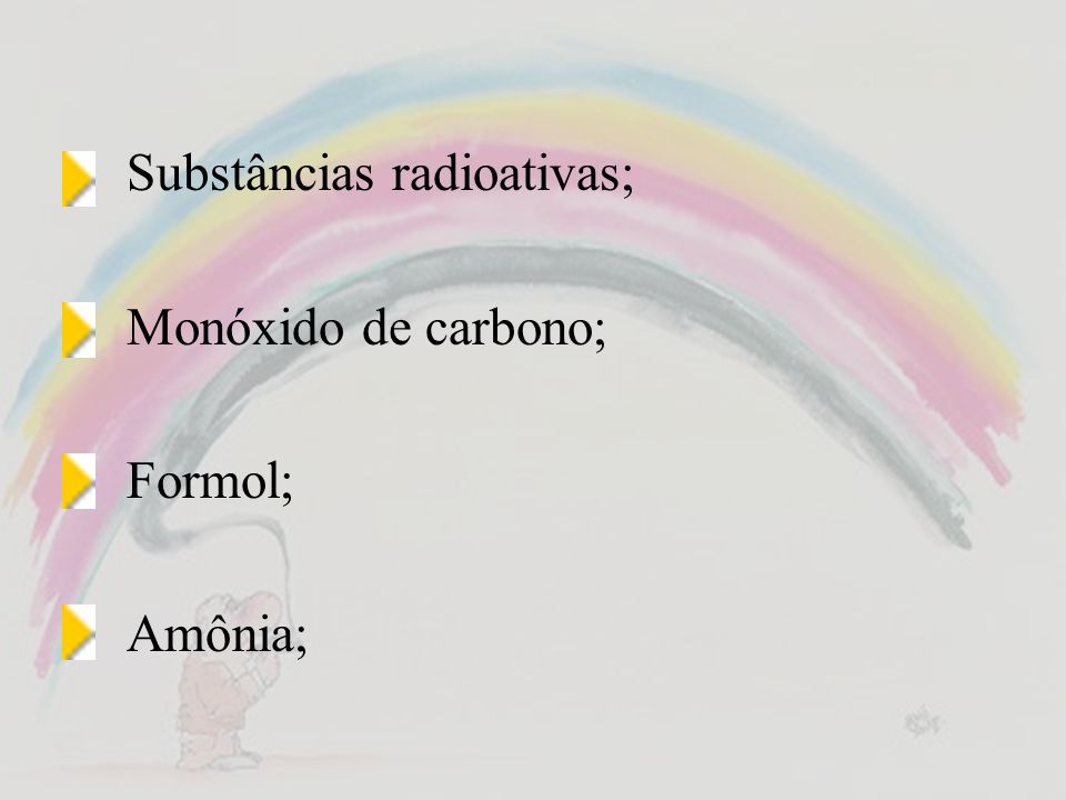 Substâncias radioativas; Monóxido de carbono; Formol; Amônia;