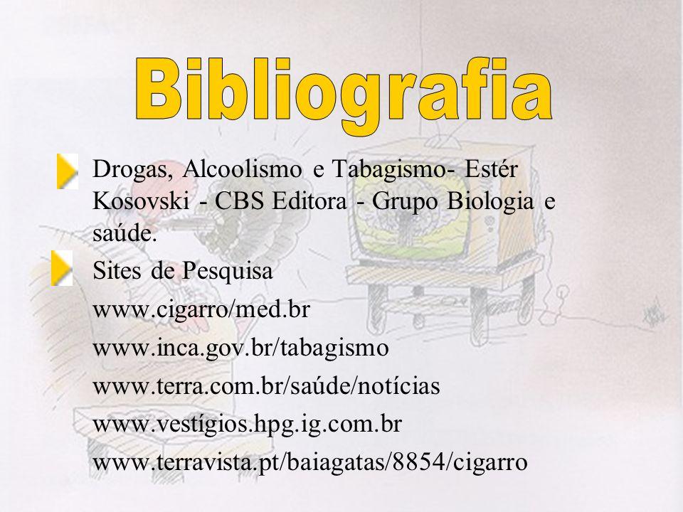 Drogas, Alcoolismo e Tabagismo- Estér Kosovski - CBS Editora - Grupo Biologia e saúde. Sites de Pesquisa www.cigarro/med.br www.inca.gov.br/tabagismo