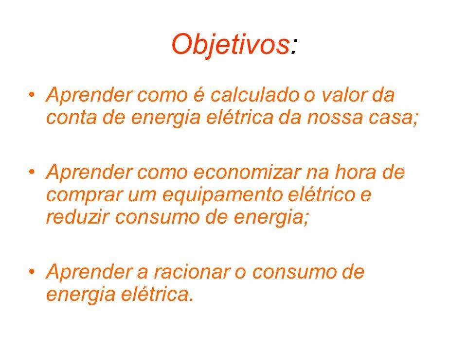 Objetivos: Aprender como é calculado o valor da conta de energia elétrica da nossa casa; Aprender como economizar na hora de comprar um equipamento el