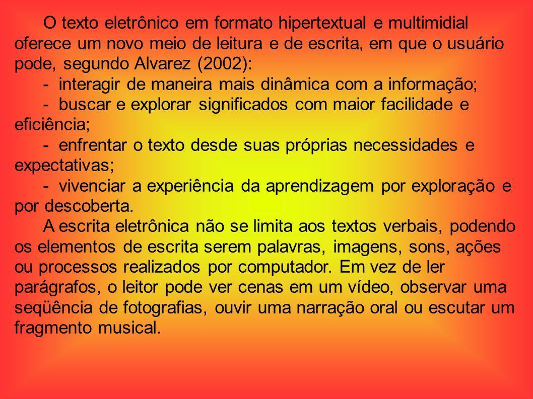 O texto eletrônico em formato hipertextual e multimidial oferece um novo meio de leitura e de escrita, em que o usuário pode, segundo Alvarez (2002):