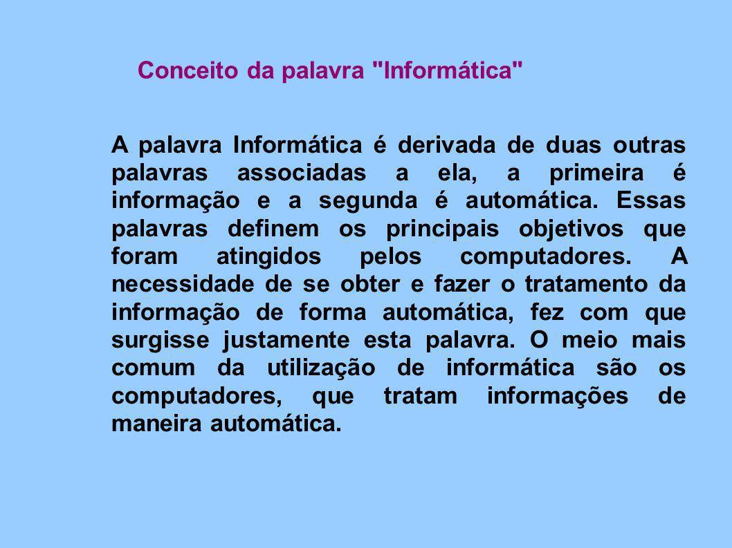 A palavra Informática é derivada de duas outras palavras associadas a ela, a primeira é informação e a segunda é automática. Essas palavras definem os