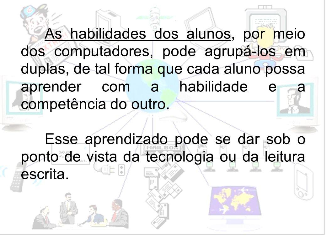 As habilidades dos alunos, por meio dos computadores, pode agrupá-los em duplas, de tal forma que cada aluno possa aprender com a habilidade e a compe