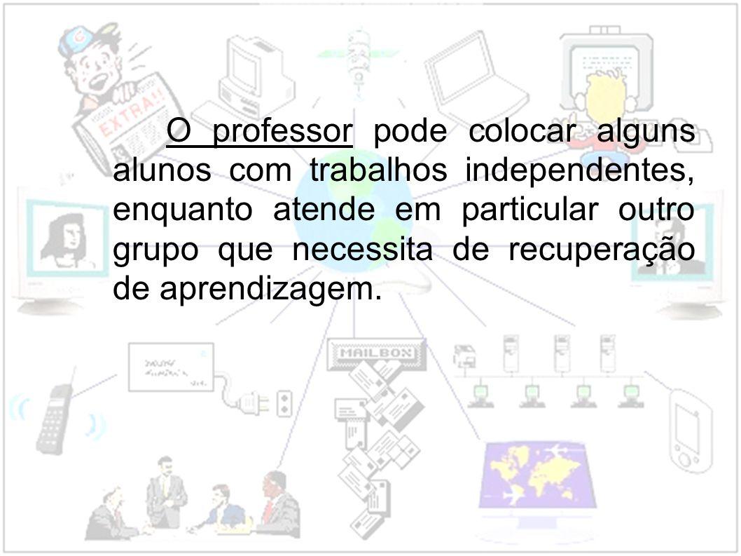O professor pode colocar alguns alunos com trabalhos independentes, enquanto atende em particular outro grupo que necessita de recuperação de aprendiz
