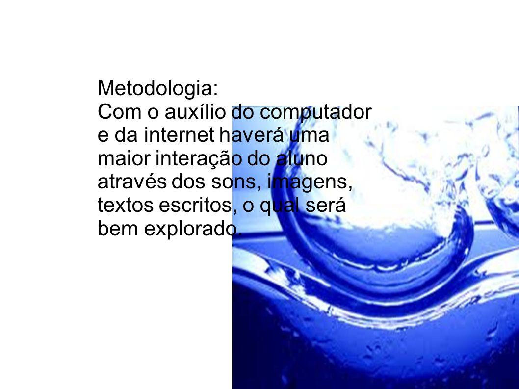 Metodologia: Com o auxílio do computador e da internet haverá uma maior interação do aluno através dos sons, imagens, textos escritos, o qual será bem
