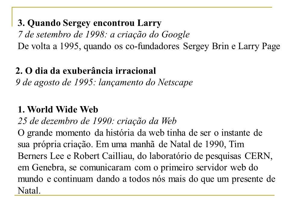 5 - Para quem o sino tocou 16 de julho de 1995: Amazon.com é inaugurada 6 - Presentes com influências geeks 15 de março de 1993: Nasce o browser gráfico 4 - Foi dito LO.