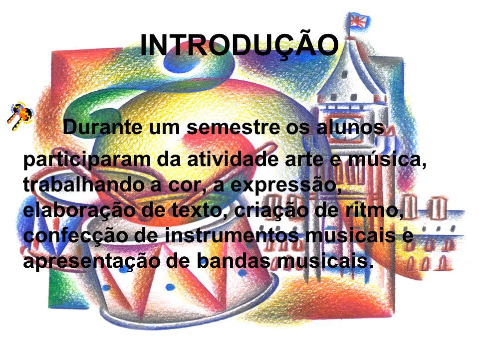 METODOLOGIA Formou-se grupos de livre escolha; Cada grupo definiu uma música de sua preferência trouxe o CD e a letra da mesma, caso estrangeira com a tradução da música; Aplicando o conteúdo trabalhado anteriormente sobre as cores, desenvolveu-se a expressão do som;