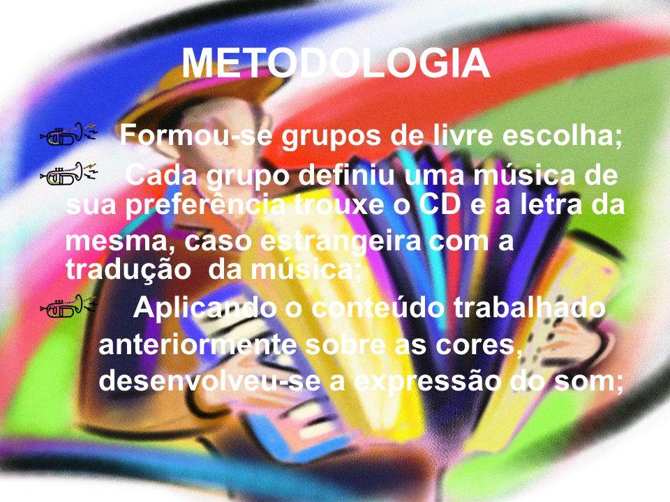 METODOLOGIA Formou-se grupos de livre escolha; Cada grupo definiu uma música de sua preferência trouxe o CD e a letra da mesma, caso estrangeira com a