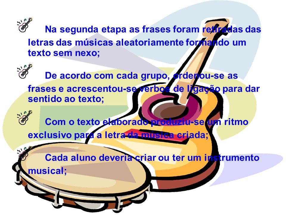 Na segunda etapa as frases foram retiradas das letras das músicas aleatoriamente formando um texto sem nexo; De acordo com cada grupo, ordenou-se as f
