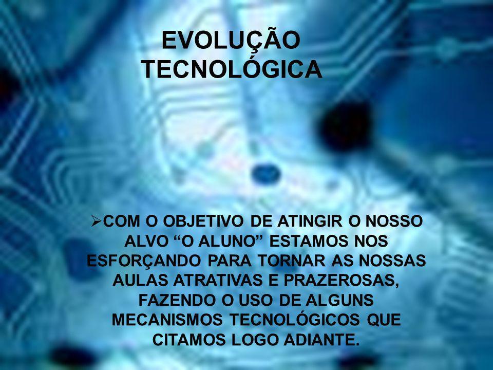 EVOLUÇÃO TECNOLÓGICA COM O OBJETIVO DE ATINGIR O NOSSO ALVO O ALUNO ESTAMOS NOS ESFORÇANDO PARA TORNAR AS NOSSAS AULAS ATRATIVAS E PRAZEROSAS, FAZENDO