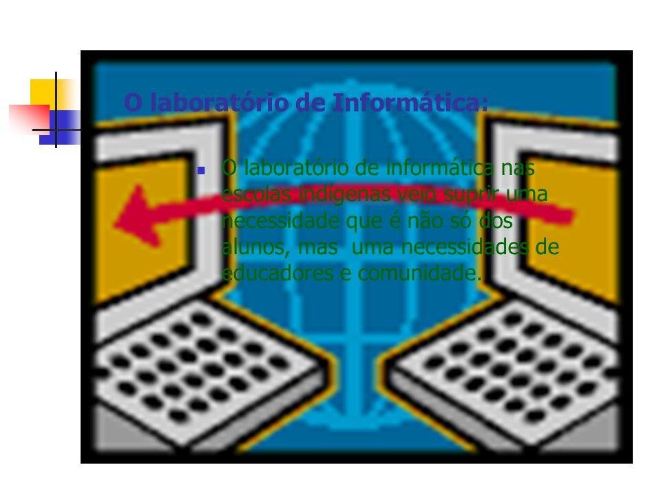 O laboratório de Informática: O laboratório de informática nas escolas indígenas veio suprir uma necessidade que é não só dos alunos, mas uma necessid