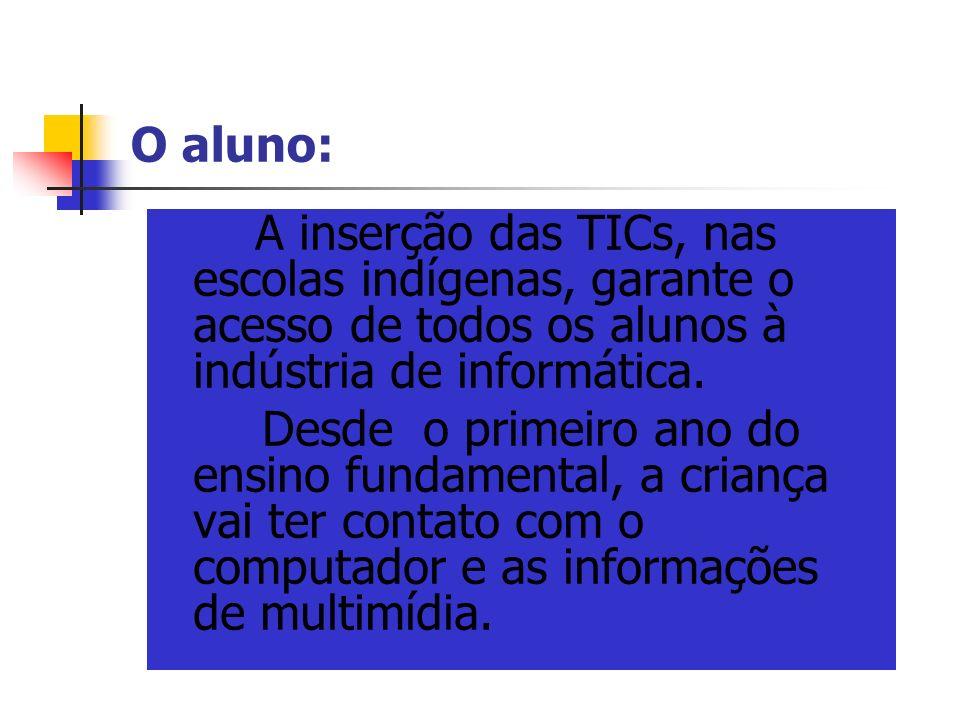 O aluno: A inserção das TICs, nas escolas indígenas, garante o acesso de todos os alunos à indústria de informática. Desde o primeiro ano do ensino fu