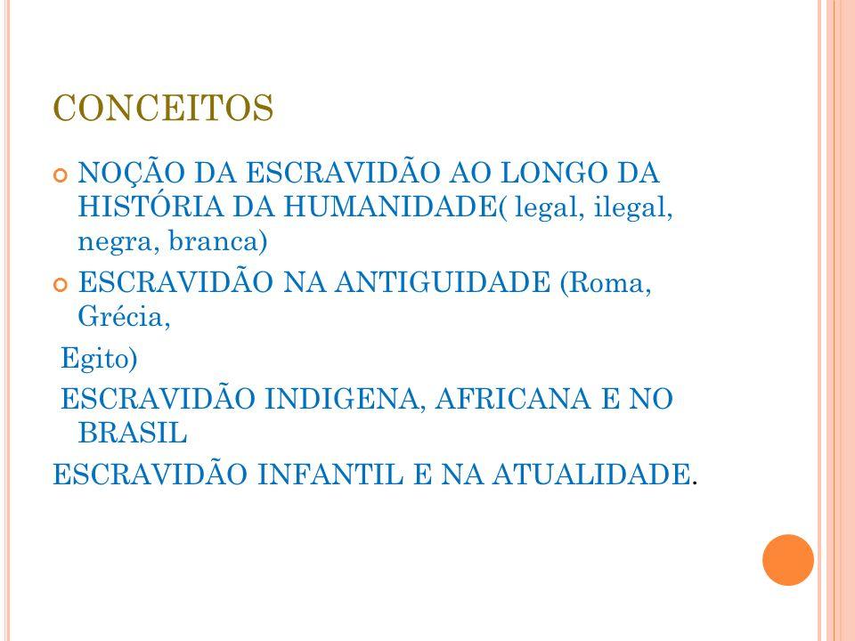 CONCEITOS NOÇÃO DA ESCRAVIDÃO AO LONGO DA HISTÓRIA DA HUMANIDADE( legal, ilegal, negra, branca) ESCRAVIDÃO NA ANTIGUIDADE (Roma, Grécia, Egito) ESCRAV