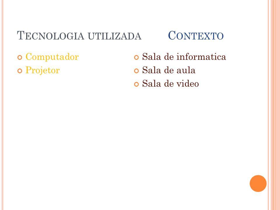 T ECNOLOGIA UTILIZADA C ONTEXTO Computador Projetor Sala de informatica Sala de aula Sala de video