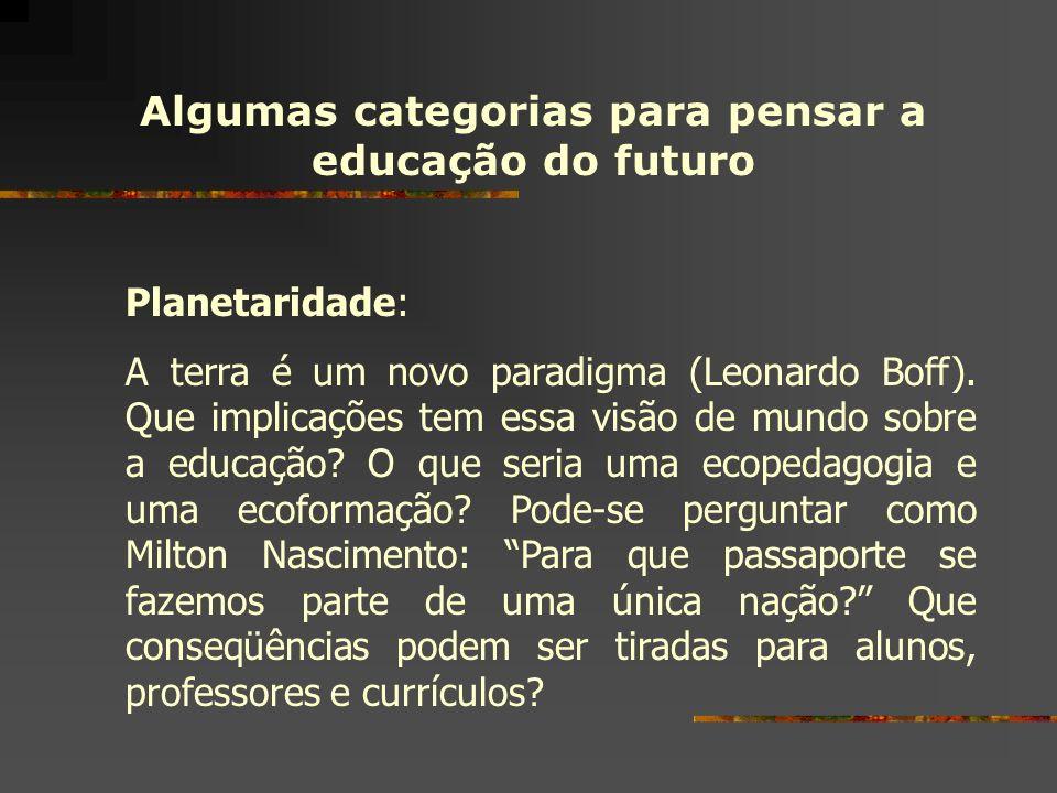 Algumas categorias para pensar a educação do futuro Planetaridade: A terra é um novo paradigma (Leonardo Boff). Que implicações tem essa visão de mund