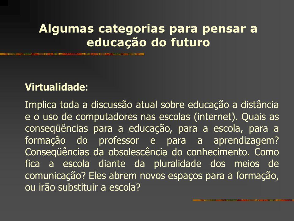 Algumas categorias para pensar a educação do futuro Virtualidade: Implica toda a discussão atual sobre educação a distância e o uso de computadores na