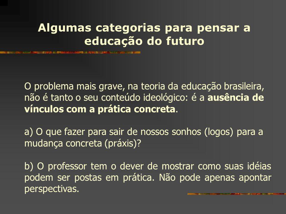 Algumas categorias para pensar a educação do futuro O problema mais grave, na teoria da educação brasileira, não é tanto o seu conteúdo ideológico: é